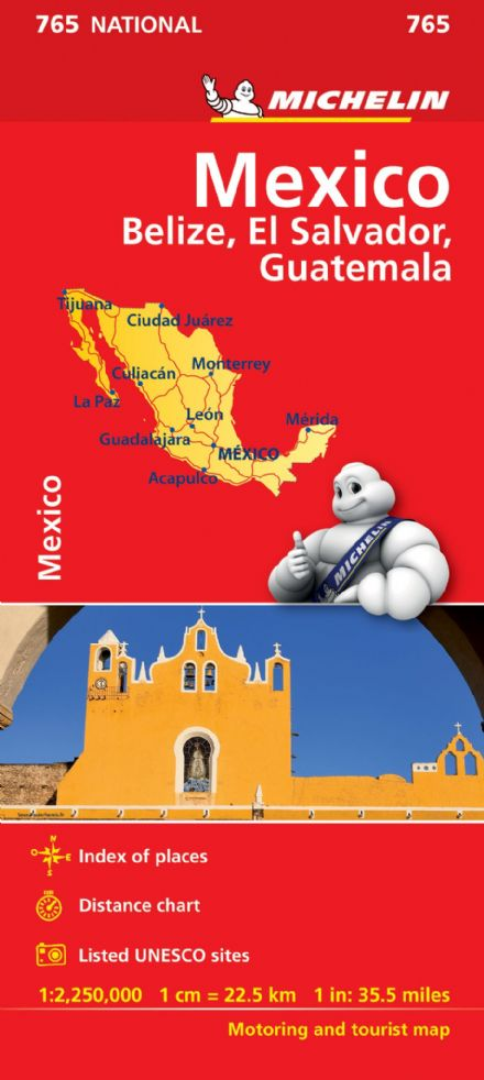 Mexico, Belize, El Salvador, Guatamala - Michelin National Map 765